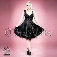 Hearts & Roses Black Satin Pin Up Dress 50s Rockabilly Swing Prom Party Style