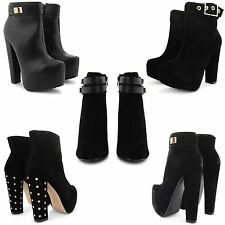NEW LADIES FAUX SUEDE WEDGE HEEL ANKLE BOOTS WOMENS FASHION SMART SHOES SIZE UK