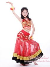 New Flower 3 PCS Girls Belly Dance Costume set of Top Skirt & Coins Hip Scarf