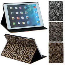 For iPad Air 5 Good Quality Folding Leopard Faux Leather Stand Cases Covers Back