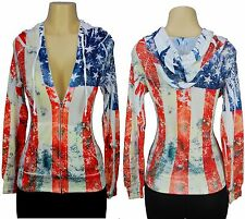American Flag Hoodie Sweatshirt Women's All Over Print Sublimation Jacket Zip-Up