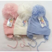 Babies Boy Girl Large Pompom Winter Hats White Blue Pink 6-12 12-24 Months