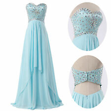 Strapless Beaded Evening Formal Bridesmaid Wedding Gown Prom Party Long Dresses
