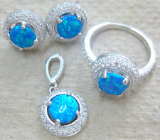 NEW 925 STERLING SILVER ROUND BLUE CR. OPAL & CZ ROUND EARRINGS PENDANT RING SET