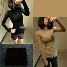 1pc Womens Fashion Slim Sexy Sheer Back Turtle Neck Bottoming Shirt Blouse Tops