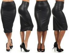 NEW WOMEN BLACK FAUX LEATHER PENCIL SKIRT High Waist Sexy Below Knee Long Sexy