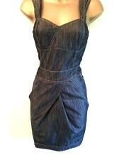 KAREN MILLEN 10 12 14 16 Dark Blue Denim Summer Casual Day or Party Fitted DRESS