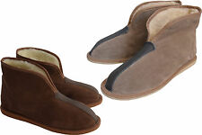 Womens Mens Unisex Natural Suede Leather And Sheep's Wool Slipper Boots