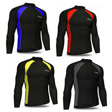 Mens Cycling Jersey Full Sleeve Cold Wear Thermal Fleece Top Bike racing team