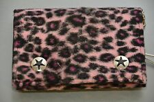 Fuzzy Leopard Fabric and Leather  Trifold wallet with chain Punk Rock Goth Style