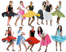 ADULT & GIRLS 50s 60s ROCK AND N ROLL DANCE SKIRT GREASE FANCY DRESS COSTUME