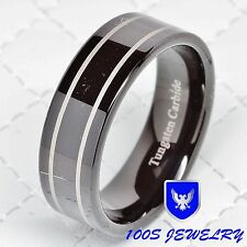 Tungsten Carbide Men's Wedding Band Ring 8mm Black-plated Polished Size 8-12 New