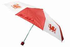 NEW WELSH WALES CYMRU FOLD AWAY COMPACT DRAGON RED WHITE UMBRELLA WITH CASE
