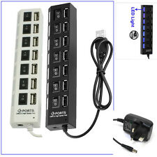 7 Ports USB 2.0 HUB With Power Switches For All Computers PC's Laptop Mac