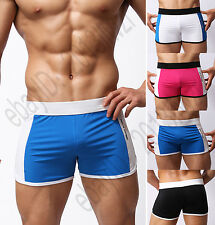 Men's Swim Boxer Trunks Surf Shorts Swimwear Swimsuit Beachwear S M L 4 Colors