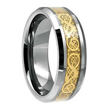 8mm Mens Gold Celtic Dragon Inlay Tungsten Carbide Ring Size 6-13