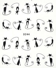 Cute Black Cats Nail Art  Water Transfers Stickers - 20 Decals [D244]