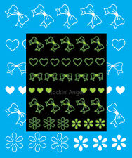 Glow in the Dark White Bows , Hearts & Flowers Nail Art Water Transfers