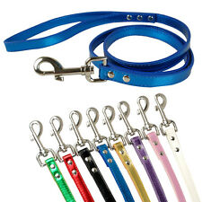 "Brand New Metalic Skin PU Leather Dog Pet Leash Dog Lead More Colors 48"" Length"