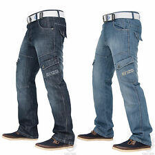 "New Mens Enzo Cargo Combat Regular Fit Denim Jeans Waist 28"" 48""  With Free Belt"