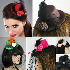 Feather Mini Top Hat Dots Net Rose Hair Clip Women Lolita Fascinator Party OS US