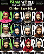 Childrens Lace Hijabs 12 Colours To Choose From,