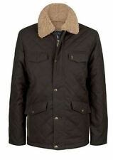 Jack Murphy Mens Carrick Quilted Wax Jacket in Rich Brown with Faux Fur Collar