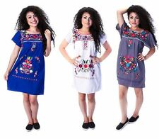 Assorted Above Knee Embroidered Mexican Peasant Hippie Mini Half Boho Dress