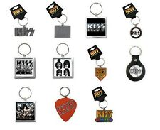 KISS - OFFICIAL METAL RUBBER LEATHER KEYRING - alive army logo icons graphite