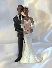 Black Bride and Groom Wedding Cake Topper. resin with sparkle detail