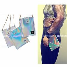 New Women Hologram Phone Bag Faux Leather Small Crossbody Clutch Purse IT bag
