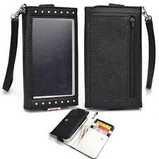 Bicast Leather Smartphone Wristlet Wallet with ID Card Slots for Sony - Black