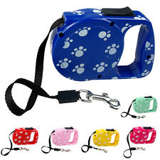 10 Ft Paw Print Retractable Extending Extendable Dog Puppy Pet Leash Leads 25lbs
