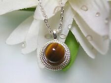 Vintage nature Tiger Eye Rope Bezel sterling silver pendant w/o 925 silver chain