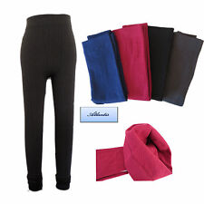 Ladies Womens Thick Cable knit Thermal Long Leggings Footless Fleece lined 8-12