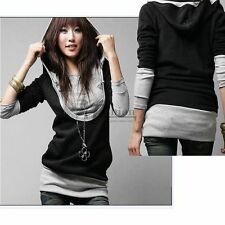 New Korea Womens Lady Long Sleeve Cotton Tops Dress Hoodie Coat Fashion SS