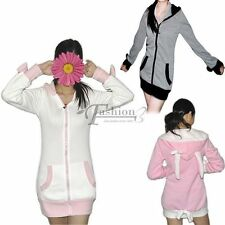 Women's Cute Bunny Ears Warm Sherpa Hoodie Jacket Coat Outerwear With Bows SS