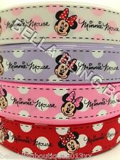 3 M DISNEY WHITE PINK RED MINNIE MOUSE GROSGRAIN RIBBON 25MM  HAIR BOW CAKE CARD