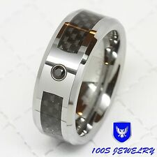 8mm Men Tungsten Carbide Carbon Fiber Black CZ Inlay Wedding Band Ring Size 8-12