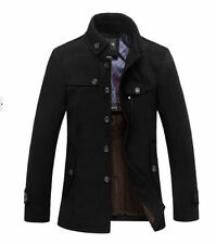 New Style Winter Mens Warm Fleece Blazer Wool Military Coat Jacket Grey Black