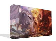 Fantasy Ice and FireDragons With Girl  Wall  Print Picture Premium High Quality