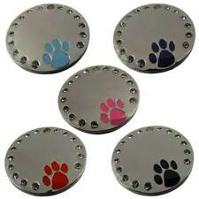 Engraved Pet ID Tags Disks 32mm Round Diamontee Paw Insert-FREE Engraving+Post