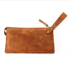 ~NEW~ Brooks Brothers  Suede Leather Zip Top Wristlet