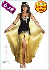 Black Gold Cleopatra Egyptian Goddess Roman Fancy Dress Halloween Costume Outfit