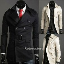 Mens Slim Fit Double Breasted Trench Coat - Stylish Jacket - XS S M L - New