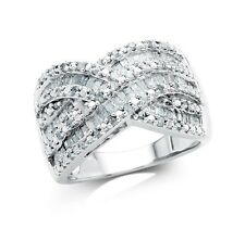 1.00 Carat Diamond Crossover Ring in Sterling Silver (I-J, I2-I3)