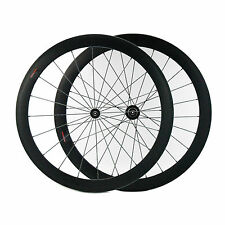 Carbon Fiber Road Bike Wheelset 50mm Tubular Rim Shimano/Sram 9/10/11 Speed