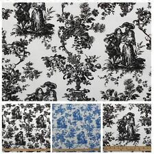 TOILE DE JOUY FRENCH SCENE PRINT COTTON SATIN MUSLIN CURTAIN UPHOLSTERY FABRIC