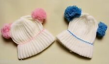 BABY BOYS GIRLS KNITTED BEANIE POM POM EARS HAT IVORY CREAM PINK BLUE 0 3 MONTHS