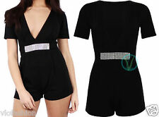 Womens Ladies Black Playsuit Party Mini Romper Jumpsuit Diamante Silver UK 8 14